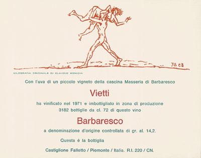 Das erste Künstleretikett von Vietti gestaltet von Bonichi