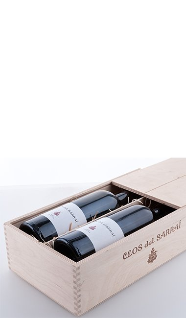 """Two bottles in the """"Clos del Sarrai"""" wooden box made of natural birch plywood with sliding lid 2013"""